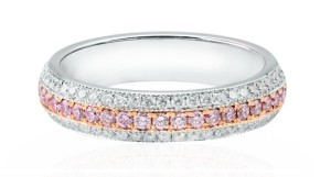 Leibish & Co Diamond Bands Ring Set in 18K White Rose Gold