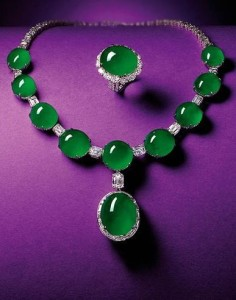 Magnificent Natural Jadeite and Diamond Pendent Necklace; and Matching Ring.