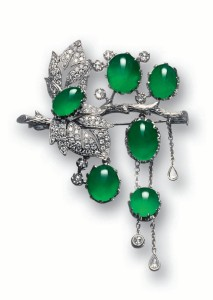 JADEITE AND DIAMOND BROOCH.