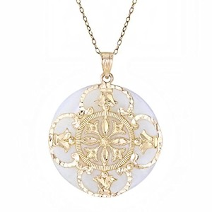 14k Yellow Gold Mother-of-Pearl Flower Pendant Necklace