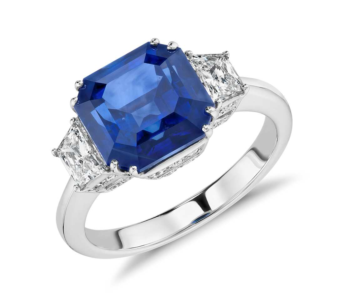 Sapphire and Diamond Three-Stone Ring in 18k White Gold