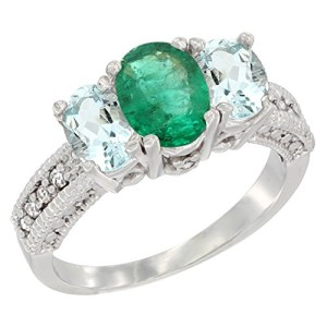 10K White Gold Diamond Natural HQ Emerald Ring Oval 3-stone with Aquamarine