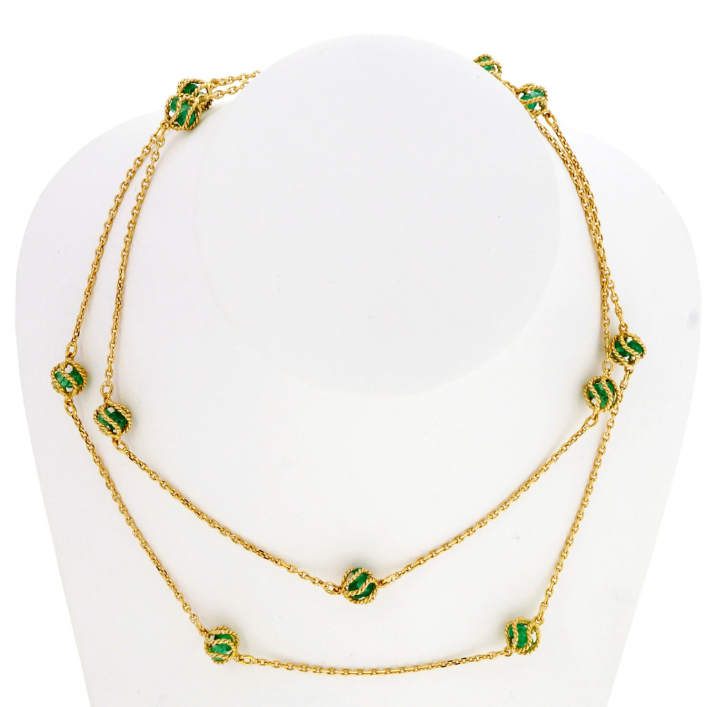 Vintage Mellerio Meller 7.00ct Emerald By The Yard 18k Long Chain Necklace