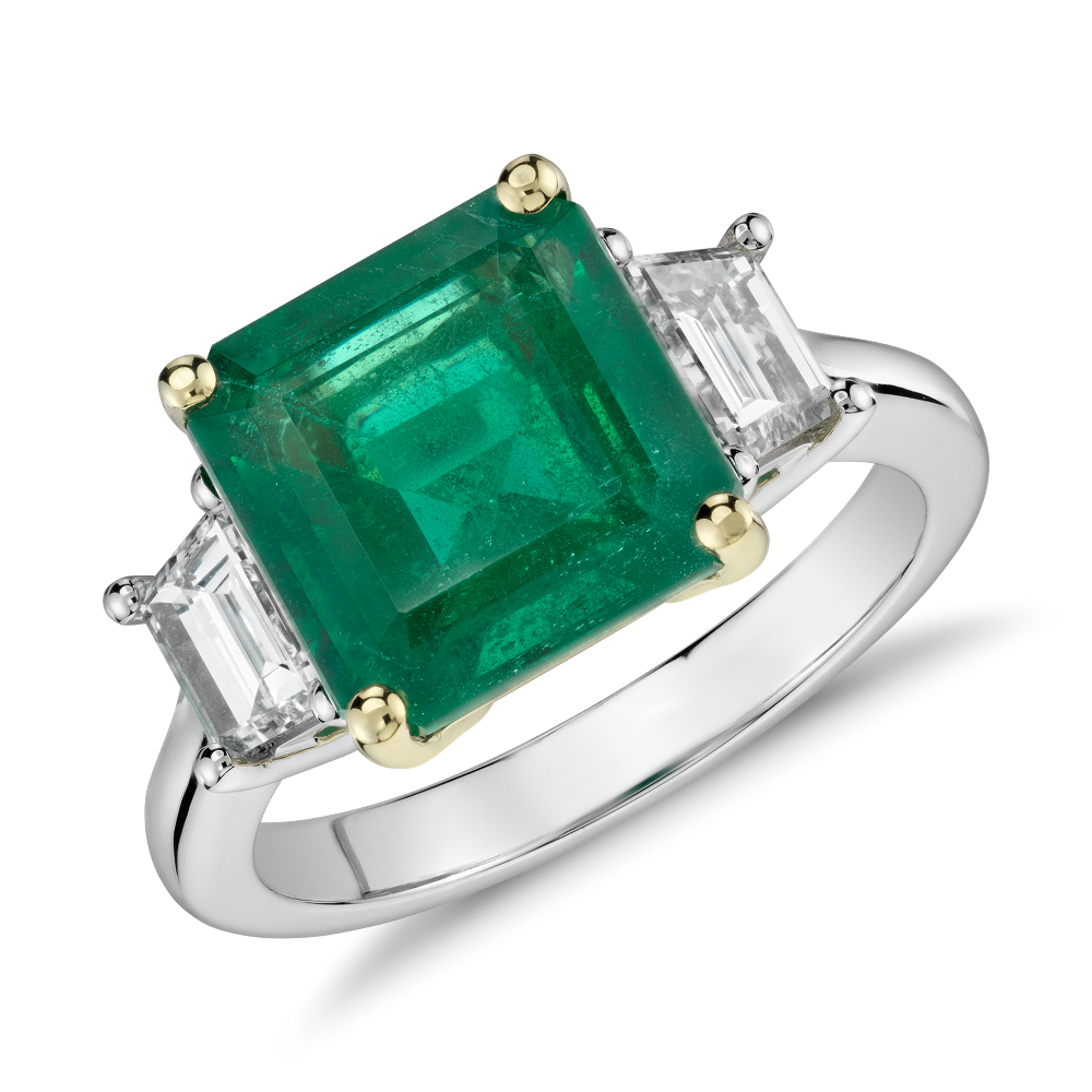 Emerald-Cut Emerald and Diamond Three-Stone Ring at Blue Nile