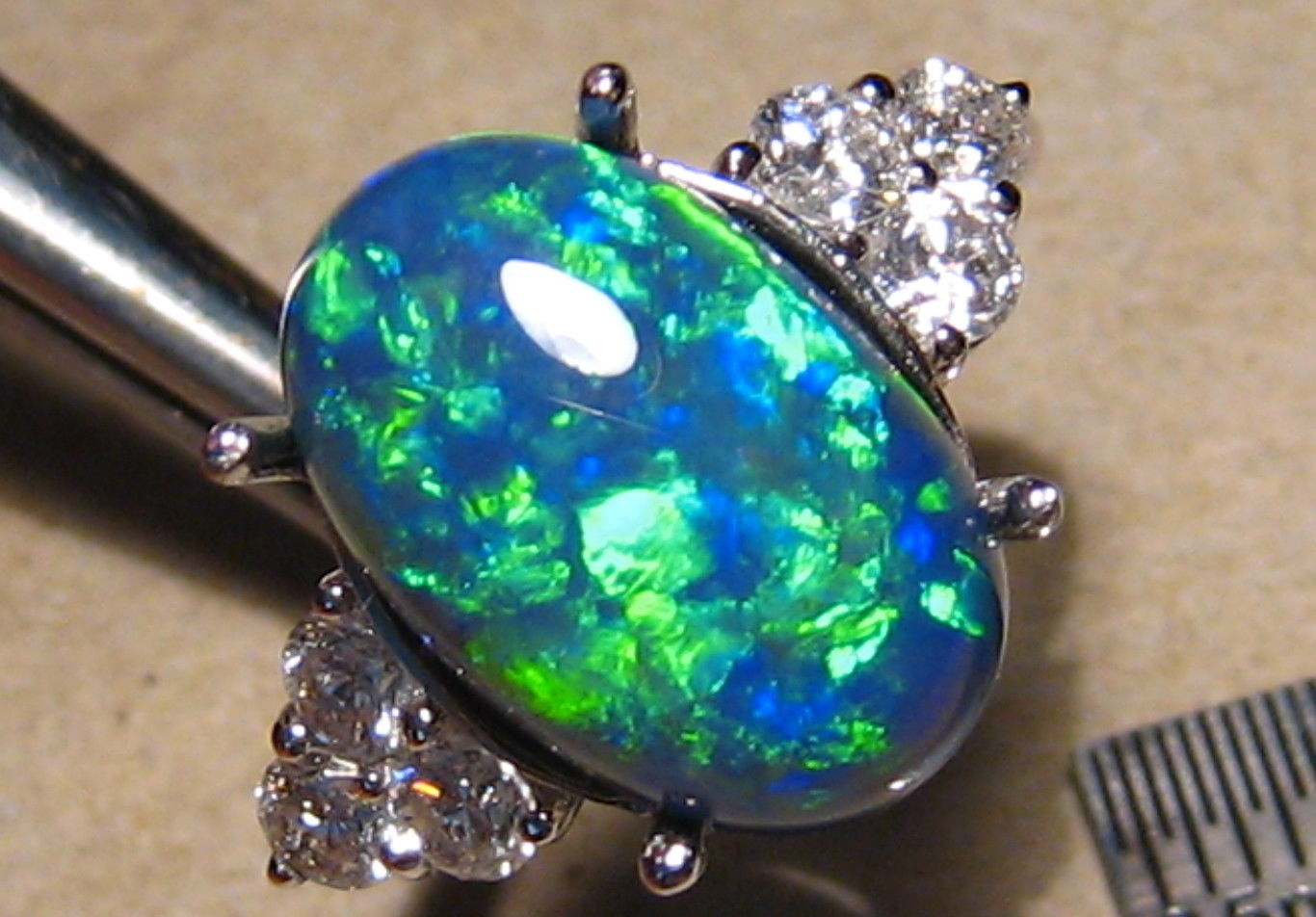 5.5 ctw Brilliant Australian Black Opal .60ct VS Diamond Ring 14k White Gold