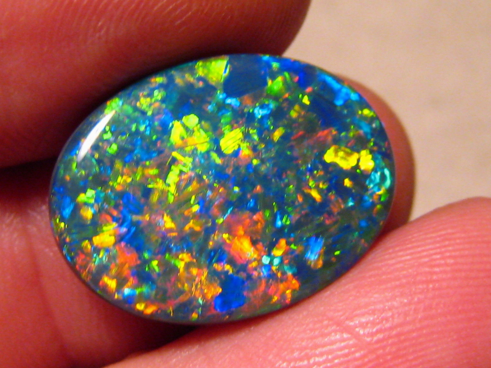 Large 11.40ct Australian Black Opal Lightning Ridge Gem Harlequin Pattern