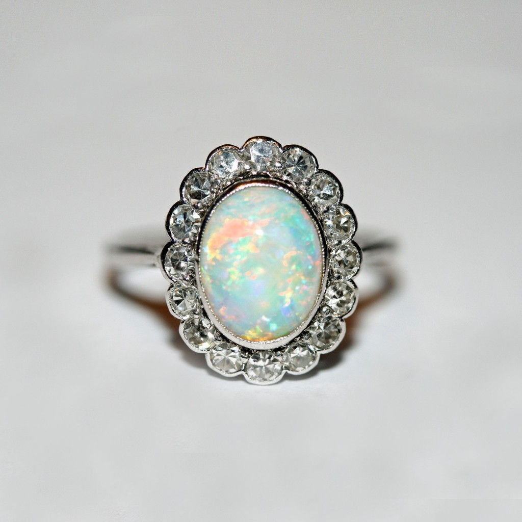 Elizabeth Rose Antiques 18ct white gold, platinum, Australian opal and diamond cluster antique ring, circa 1915