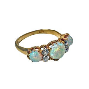 Louis Wine Ltd 18ct rose gold, opal and diamond carved half-hoop ring, accented with old mine-cut diamonds, circa 1900