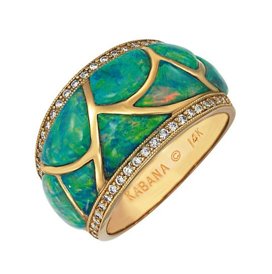 Kabana's outstanding Australian Opal jewelry has made it's reputation in the jewelry world and beyond. Delicate and precious, the Opal Collection allows the colors of all the gemstones to shine in one. This ring is inlaid with opal, set in 14k yellow gold and accented with diamonds (.36 ctw)