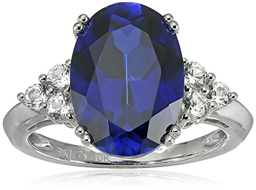 10k White Gold Created Ceylon Sapphire and Created White Sapphire Ring