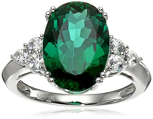10k White Gold Created Emerald and Created White Sapphire Ring