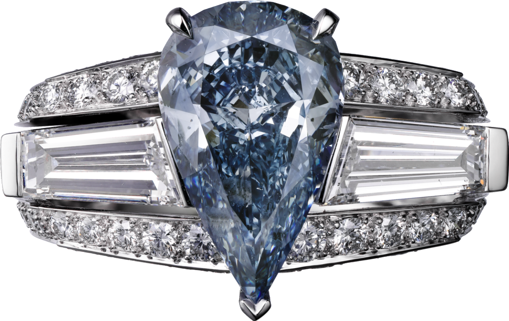Cartier High Jewelry Platinum, blue diamond, diamonds ring