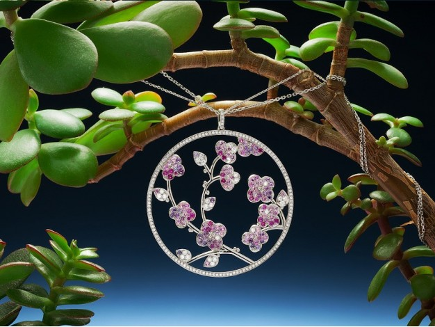 """Cécile Chalvet pendant """"Sakura"""" in white gold, diamonds (2.20 carats) and shades of pink sapphires (3.60 carats)"""