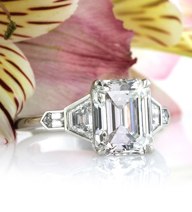 Mark Broumand 4.48ct Emerald Cut Diamond Engagement Ring