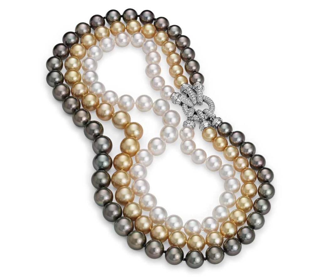 Triple Strand Cultured Pearl Necklace in 18k White Gold (10-13mm)