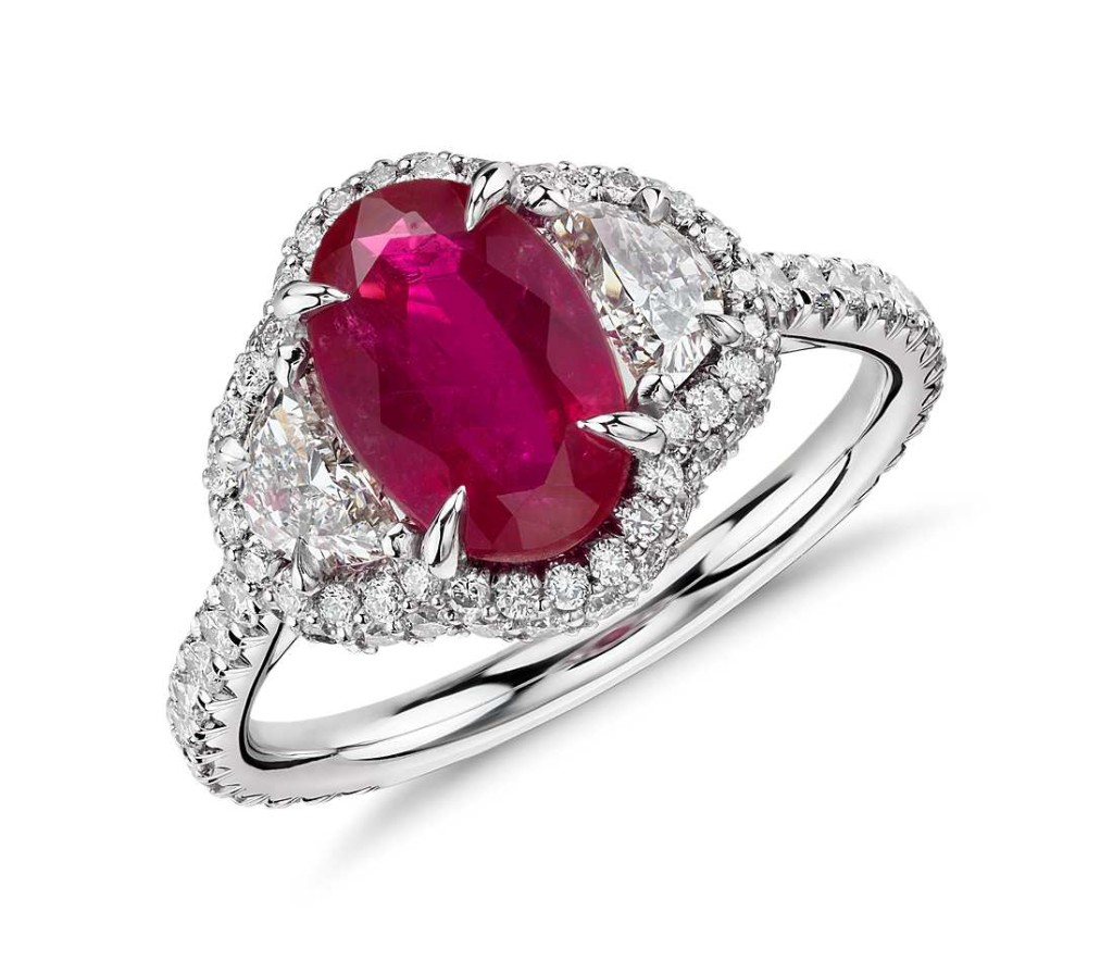 Ruby and Half-Moon Diamond Halo Ring