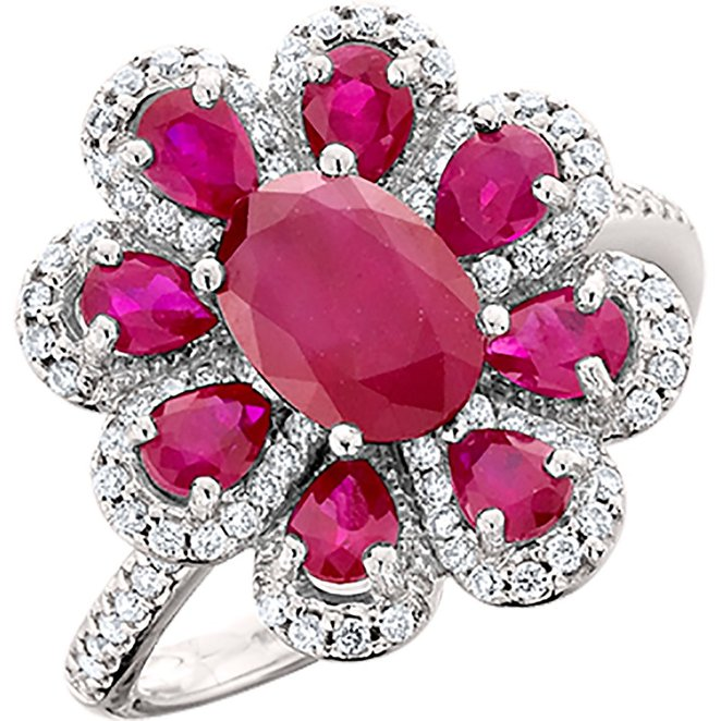 Amoro 14kt White Gold Ruby and Diamond Ring