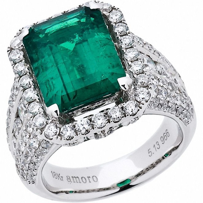 Amoro Colombian Emerald and Diamond Ring in 18kt white gold