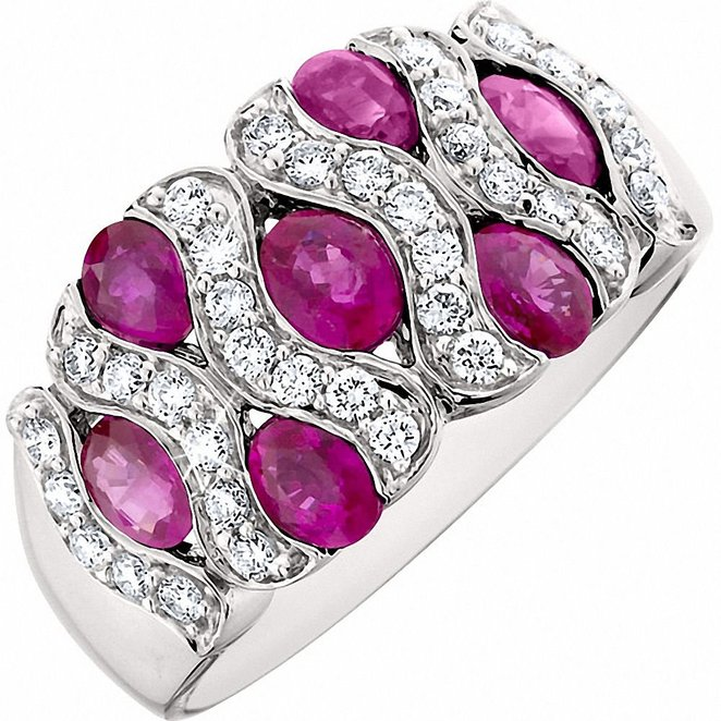 Amoro Ruby and Diamond ring in 14kt white gold