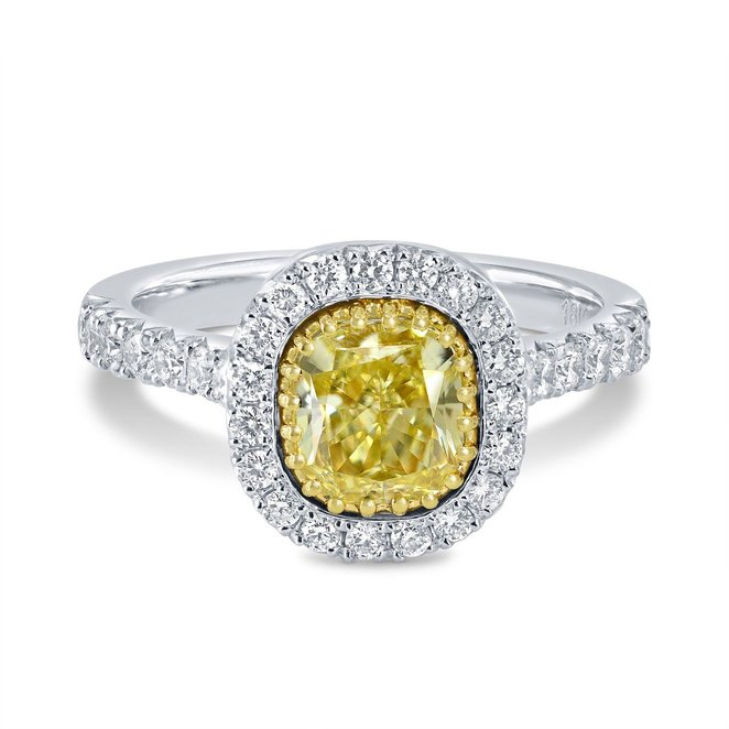 1.69Cts Yellow Diamond Engagement Halo Ring Set in 18K White Yellow Gold GIA