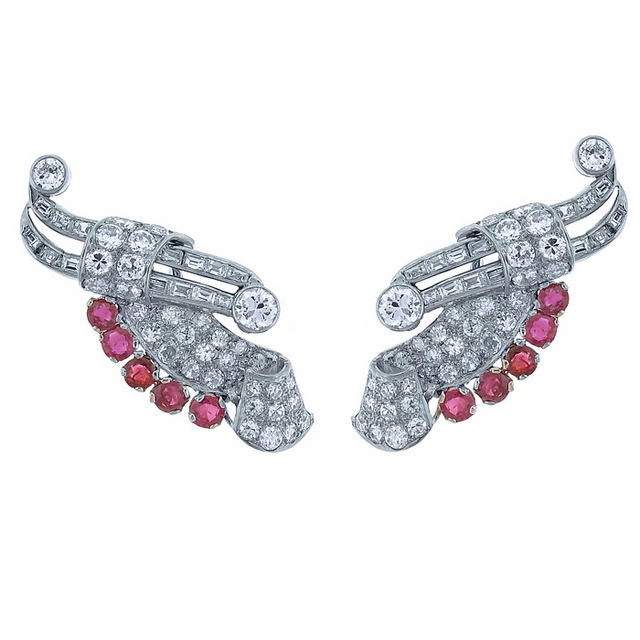 1940s platinum and diamond wing earrings, $19,450 from Pampillonia