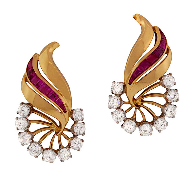 French from the 1950s in platinum and 18k gold with rubies and diamonds, $4,600 from Lawrence Jeffrey