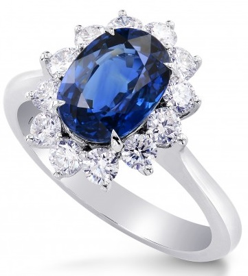 Platinum Oval Sapphire and Diamond Basket Halo Ring