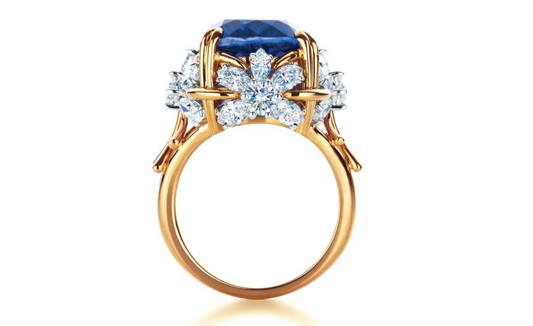 Tiffany & Co Schlumberger Flower ring with tanzanite and diamonds