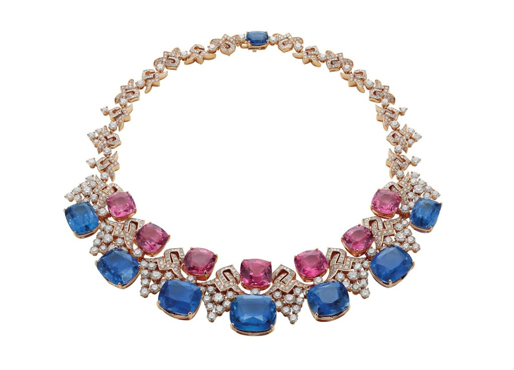 "The ""Blue Iridescence"" necklace is made of eight rare blue sapphires (187.48 total carats), acquired by Bulgari in various parts of the world and kept by the luxury jeweler for years."