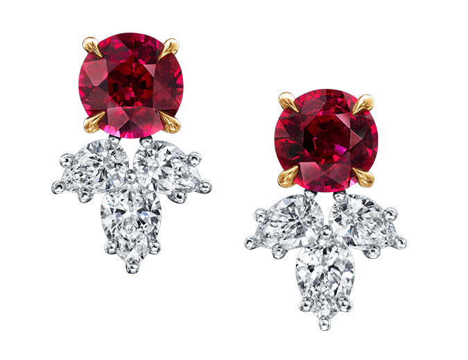 Harry Winston Ruby and Diamond Cluster Earrings