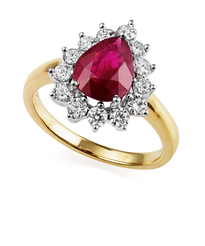 Ruby and Diamond Ring18k white and yellow gold
