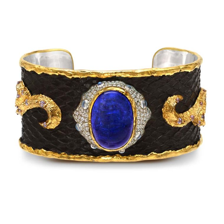 Victor Velyan gold and silver bracelet with a black patina, set with tanzanites, diamonds, moonstones and purple sapphires