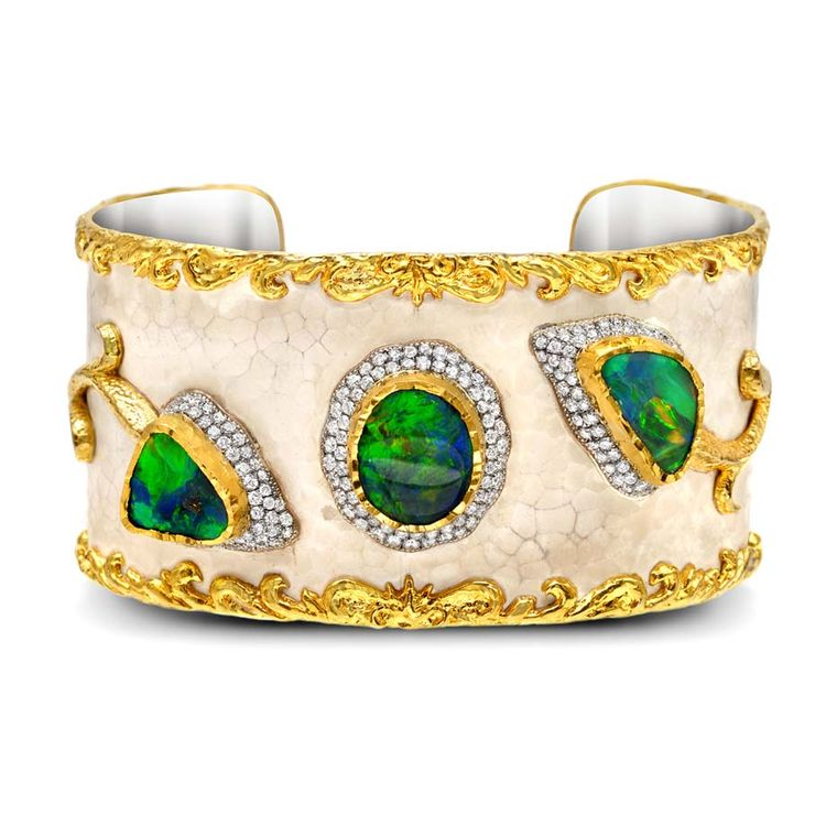 Victor Velyan gold and silver bracelet with a white patina, set with black opals and diamonds