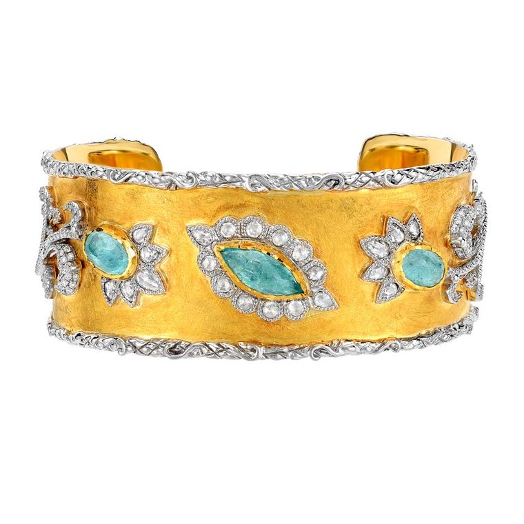Victor Velyan gold bracelet with Paraiba tourmalines and diamonds