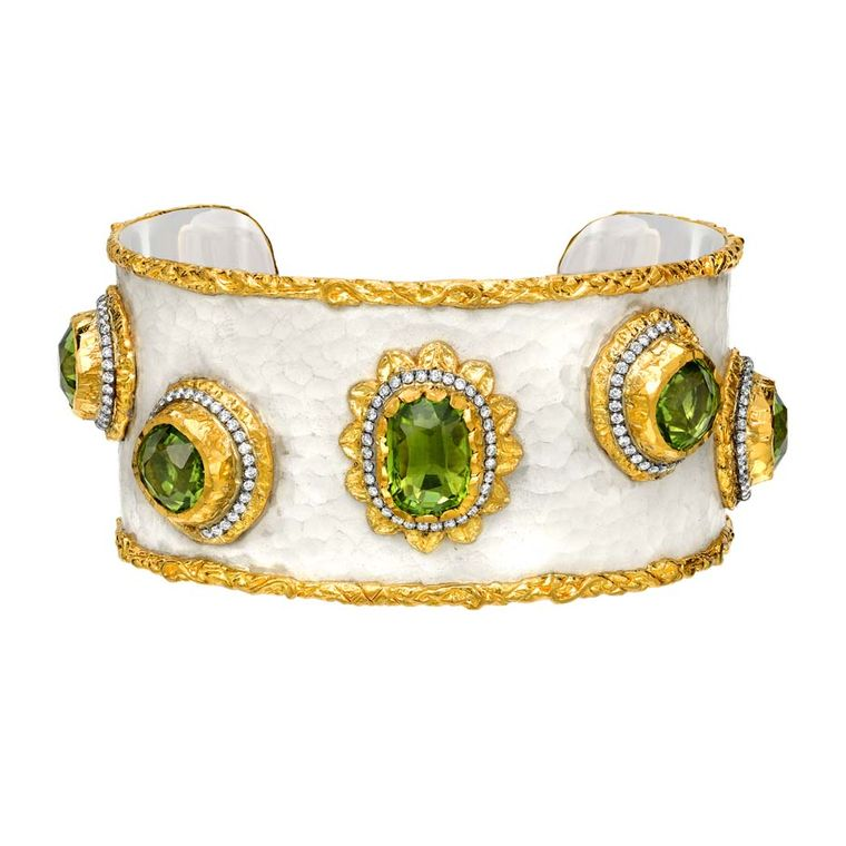 Victor Velyan gold and silver bracelet with a white patina, set with peridots and diamonds