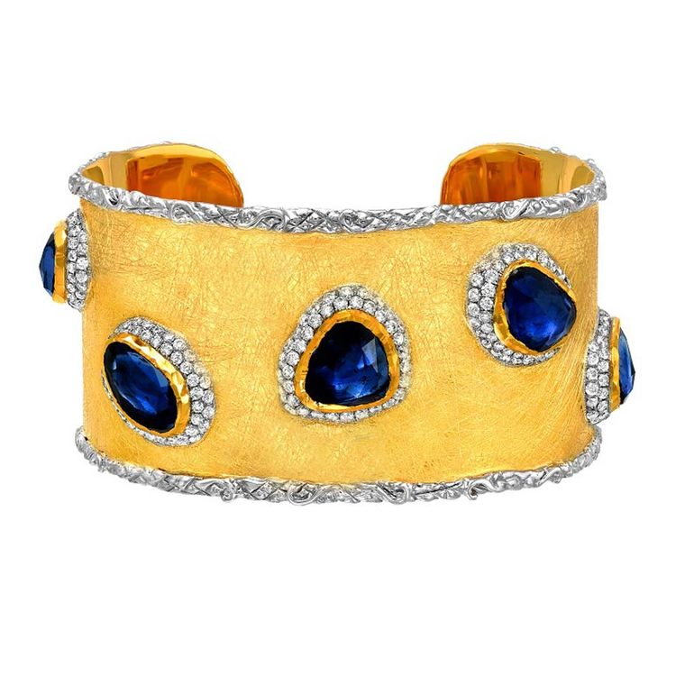 Victor Velyan gold bracelet with 15.43ct blue sapphires and diamonds