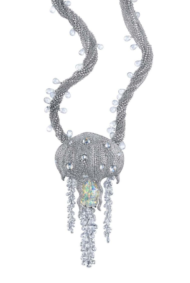 Victor Velyan white gold Jellyfish pendant with round diamonds, diamond briolettes, white sapphire briolettes, moonstones, blue fire opal and jelly opal.