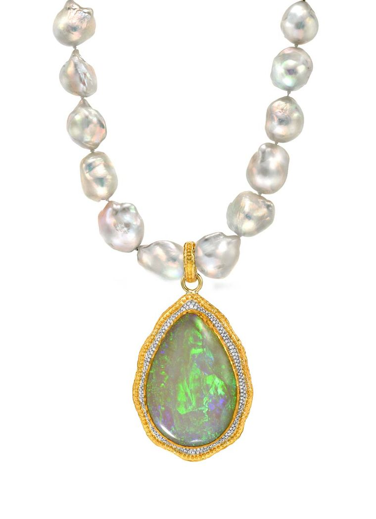 Victor Velyan gold and silver pendant with a central 36.55ct black opal surrounded by diamonds on a pearl necklace