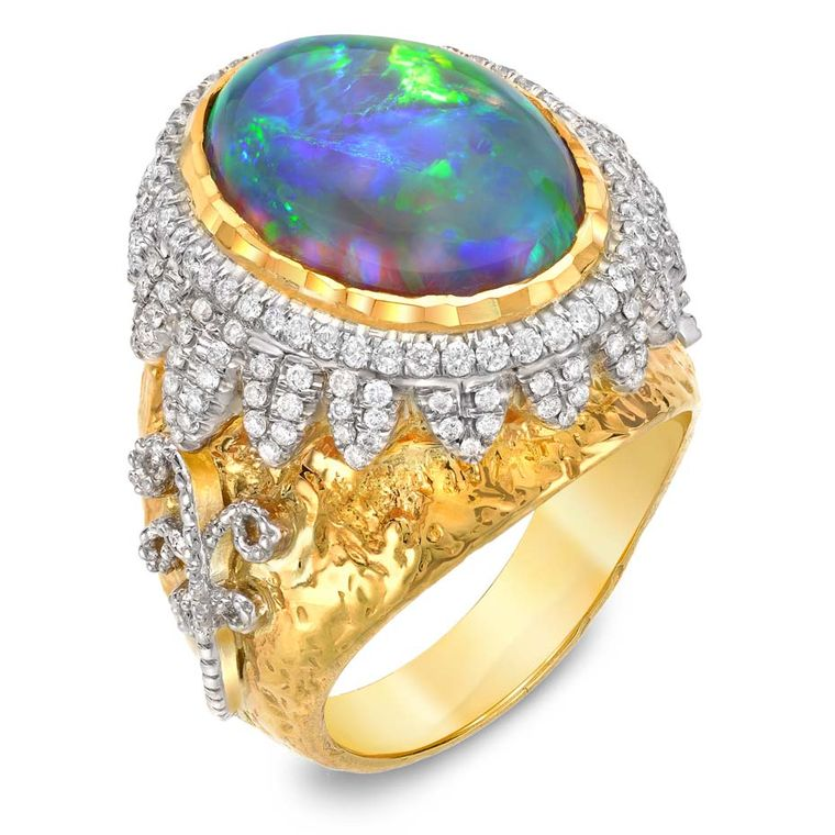 Victor Velyan yellow and white gold ring with a central black opal and diamonds