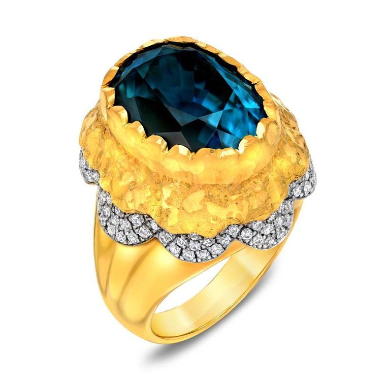 Victor Velyan white and yellow gold ring with a 22.96ct blue zircon and diamonds