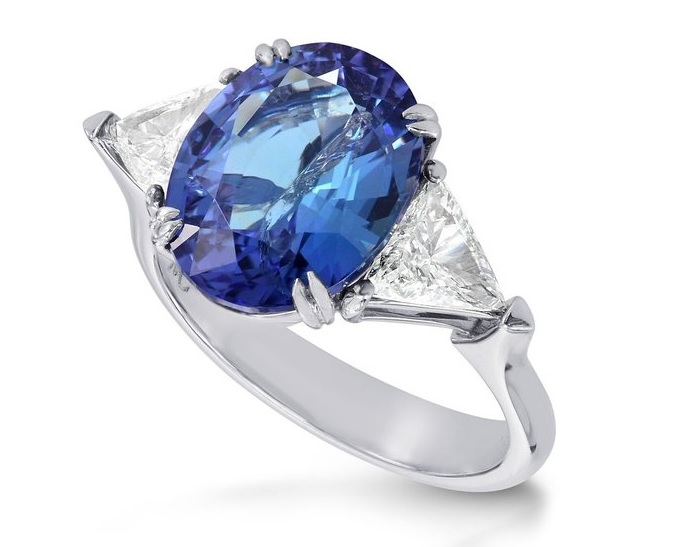 5.68Cts Blue Diamond Engagement 3 Stone Ring Set in 18K White Gold
