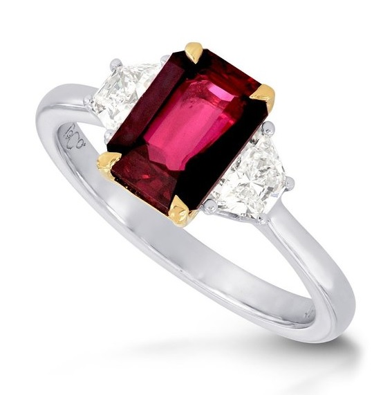 2.3Cts Ruby Diamond Engagement Ring Set in 18K White Yellow Gold
