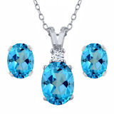 WEEKLY DEALS ON EBAY 3.15 Ct Natural Oval Swiss Blue Topaz 925 Sterling Silver Pendant Earrings Set