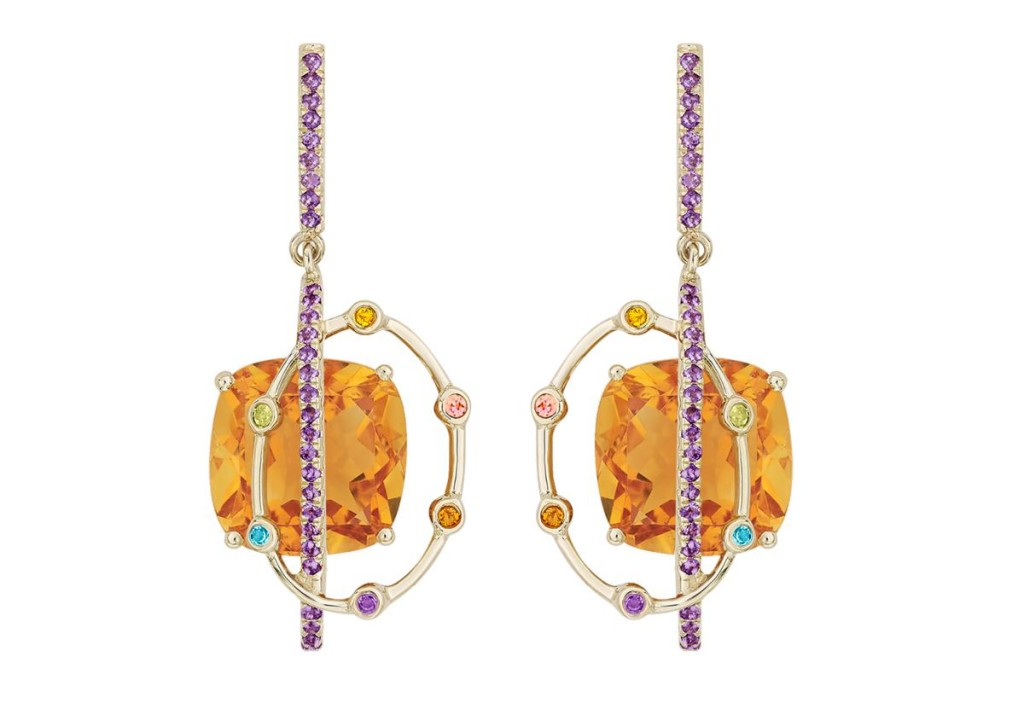 One-of-a-kind earrings in recycled 18k gold with 13.55 cts. t.w. orange citrine and 0.48 ct. t.w. yellow citrine, peridot, pink tourmaline, and London blue topaz by Arya Esha, $2,160