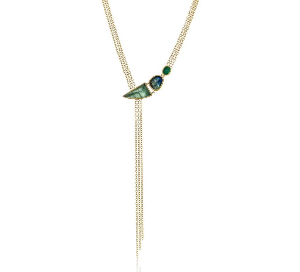 One-of-a-kind lariat necklace in 18k yellow gold with aquamarine, untreated tanzanite, and Paraiba by Amali Jewelry, $10,560