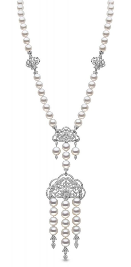 Multi-wear convertible necklace/brooch in 18k white gold with 11 mm–15 mm South Sea pearls and 18.29 cts. t.w. diamonds by Yoko London, price on request