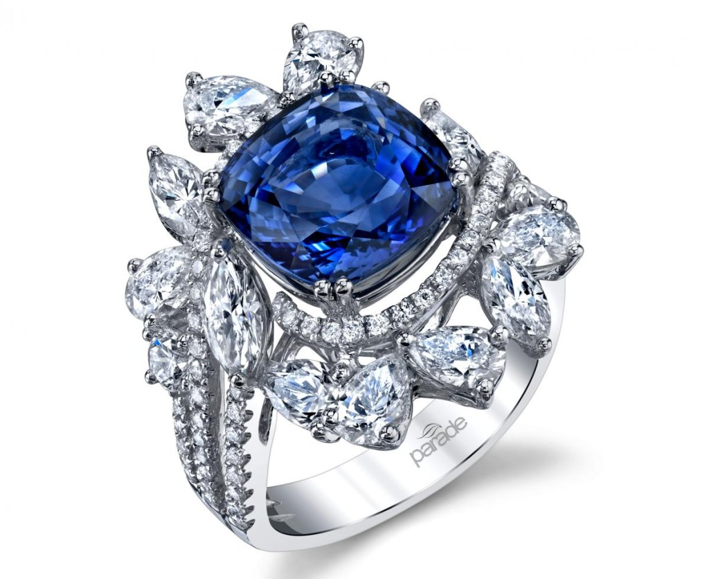 One-of-a-kind ring in 18k white gold with 6.28 ct. sapphire and 2.92 cts. t.w. diamonds by Parade Design, price on request