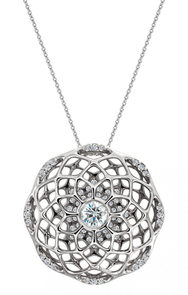 One-of-a-kind cage pendant in platinum with 0.5 ct. t.w. diamonds by Stuller, price on request