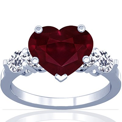 GemsNY 18K White Gold Heart Cut Ruby Ring With Sidestones (GIA Certificate)
