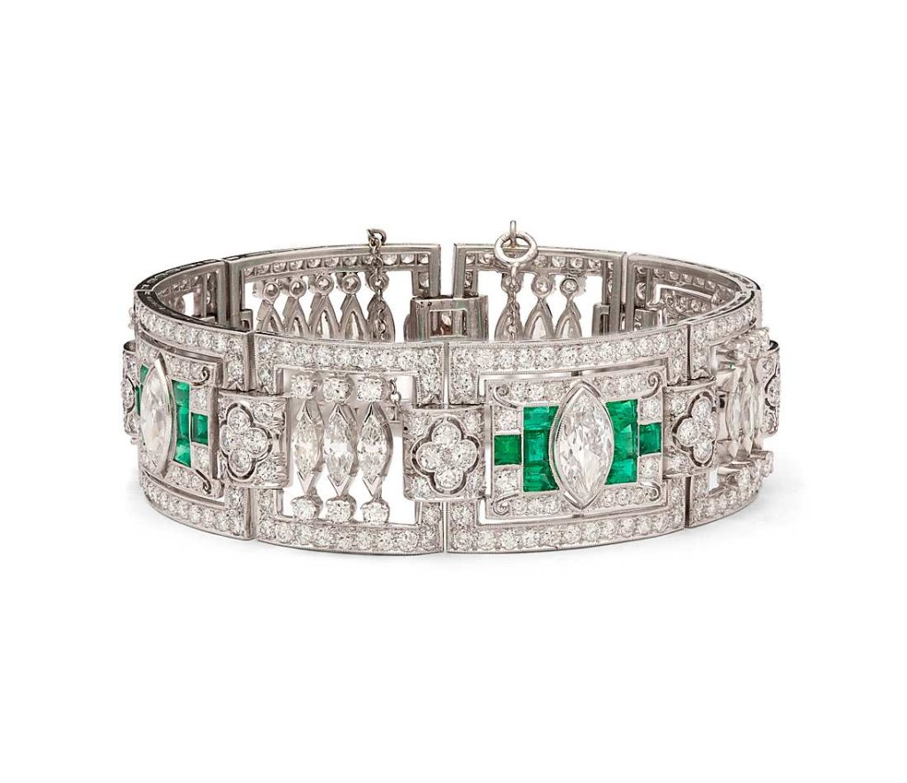 Estate Art Deco Diamond and Emerald Bracelet in Platinum (20 ct. tw.)